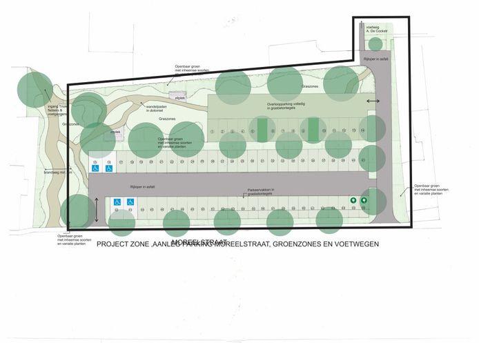 Het plan voor de nieuwe parking in de Moreelstraat in Denderleeuw.