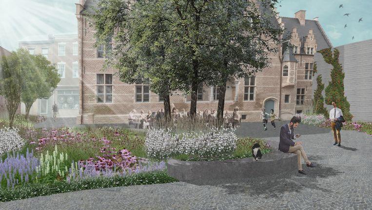 Het toekomstige binnenplein van het Hof van Cortenbach, met hoogstammige bomen, een zitbank verwerkt in de beplanting en mozaïekkeien.