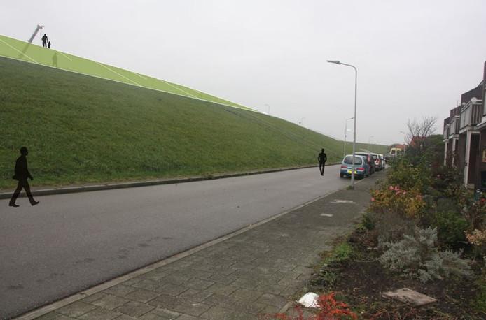 Impressie van de dijkversterking in Hansweert. Hier de Werfdijk. Het lichtgroene deel is de verhoogde dijk.