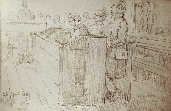 Maria Catharina Swanenburg, berucht onder de naam Goeie Mie, in de rechtbank.
