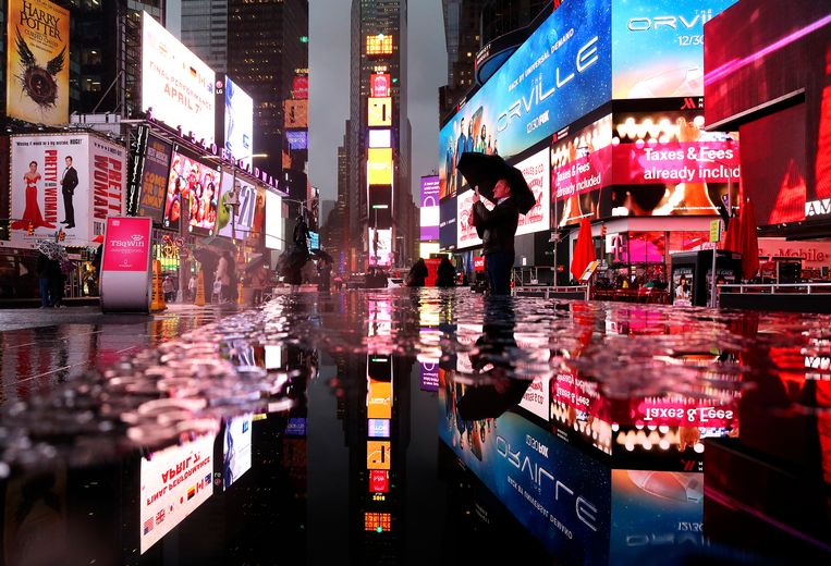 Times Square na een hoosbui. Beeld Gary Hershorn/Getty Images
