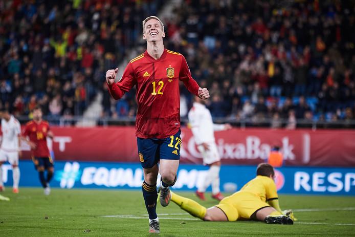 Dani Olmo tijdens zijn eerste interland voor Spanje.
