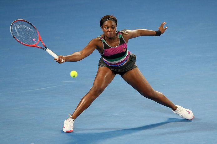 Sloane Stephens in actie op de Australian Open begin dit jaar.
