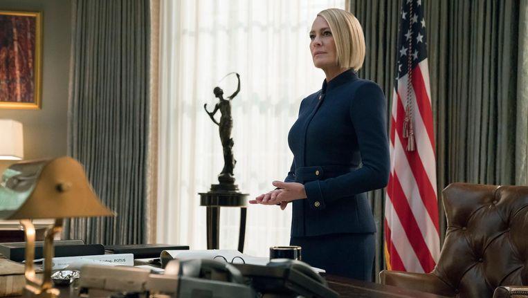 'My turn,' zei Claire Underwood (Robin Wright) aan het einde van seizoen vijf Beeld David Giesbrecht/Netflix