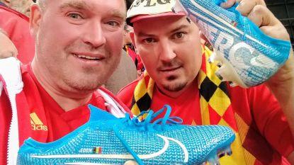 """Steven Vekeman vangt linker voetbalschoen van Eden Hazard: """"Die krijgt een speciaal plaatsje"""""""
