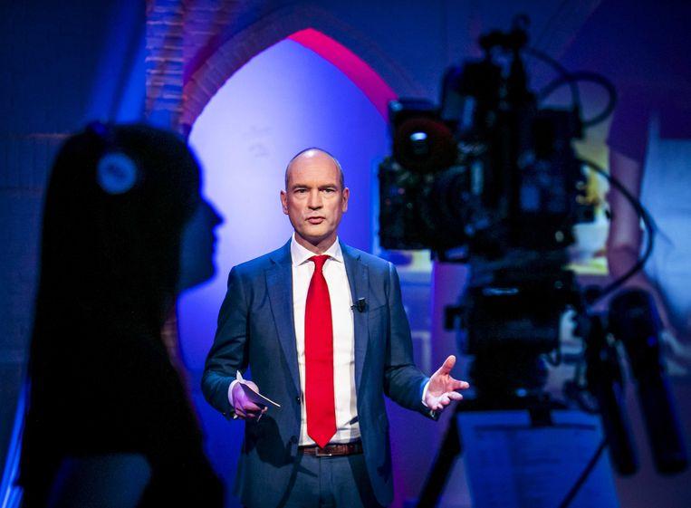 Fractievoorzitter van ChristenUnie CGert-Jan Seegers tijdens een online partijcongres in een studio van de EO Beeld ANP