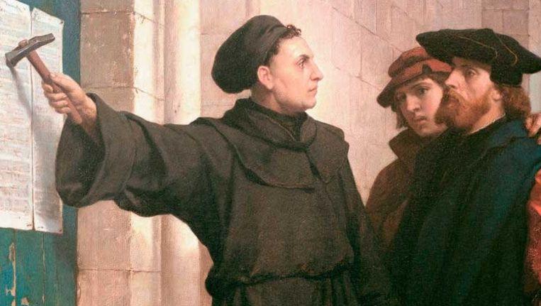 Luther op het schilderij '95 stellingen'. Beeld Ferdinand Pauwels