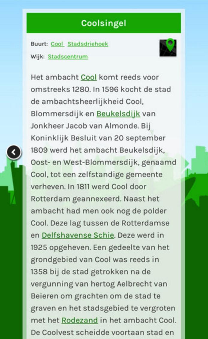 De app geeft een uitgebreide uitleg van alle straatnamen in Rotterdam.