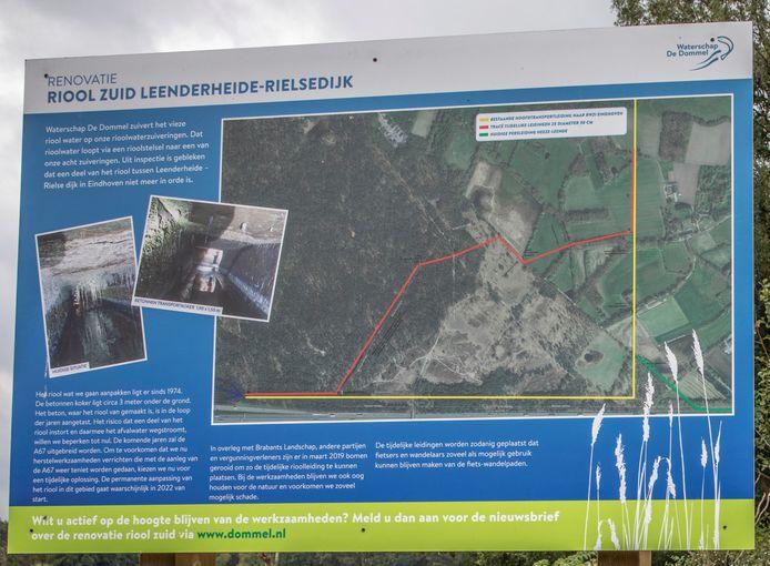 Bord met verklaring van de werkzaamheden op de Stratumse Heide in Eindhoven en bij Gijzenrooi in Geldrop. Aan het weggetje Gijzenrooi, bij het fietspad naar Eindhoven, staat dit bord. Daar komt ook het depot voor de werkzaamheden én de aansluiting op het vast riool.