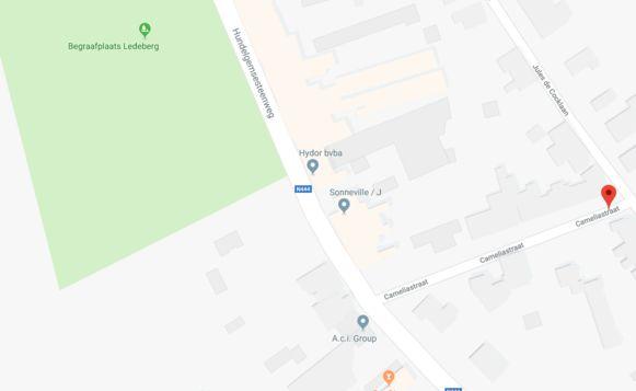 Werken ter hoogte van de Cameliastraat in Merelbeke.
