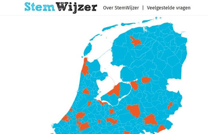De gemeenten waarvan stemadviezen in de Stemwijzer te vinden zijn.