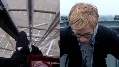 """VIDEO. Vlaamse vlogger riskeert leven door Makro-toren te beklimmen: """"Dit is het domste wat ik ooit gedaan heb"""""""