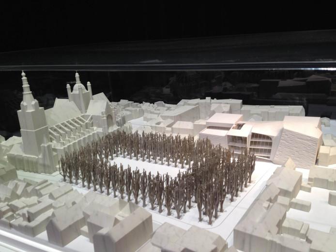 Maquette van de Parade, met het nieuw te bouwen theater (rechts).