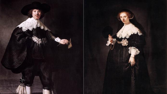 Maerten Soolmans (l) en Oopjen Coppit op de schilderijen die elk 80 miljoen waard zijn