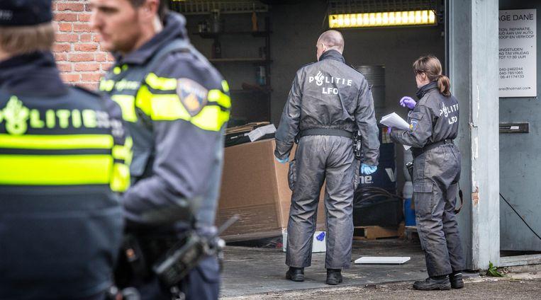 Politie onderzoekt een drugslab in Eindhoven, 19 februari 2017. Beeld ANP