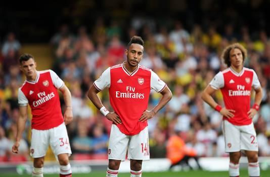 Granit Xhaka, Pierre-Emerick Aubameyang en David Luiz balen na de 2-2 van Watford.