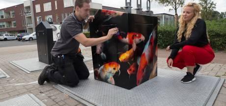 Kunst op containers: afval lozen kan in Doesburg bij de koikarpers