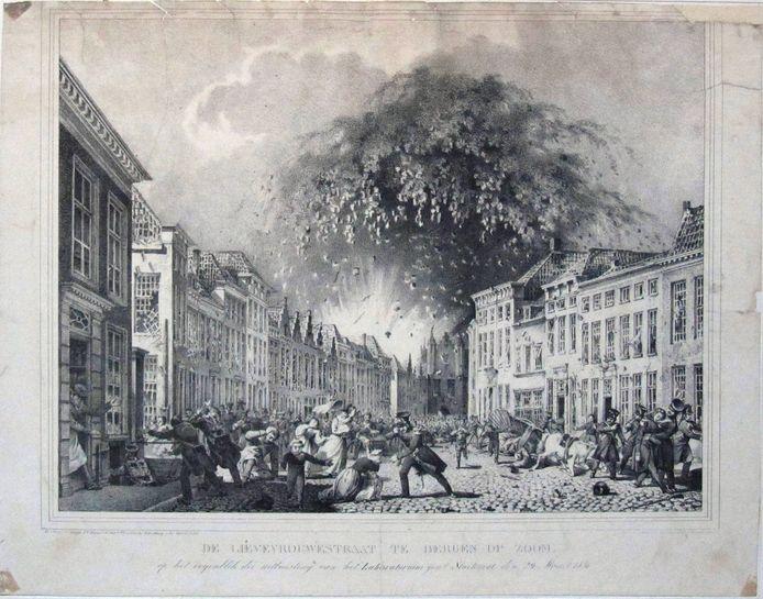De Lievevrouwestraat tijdens de ontploffing van kruitmagazijn De Stoelemat.