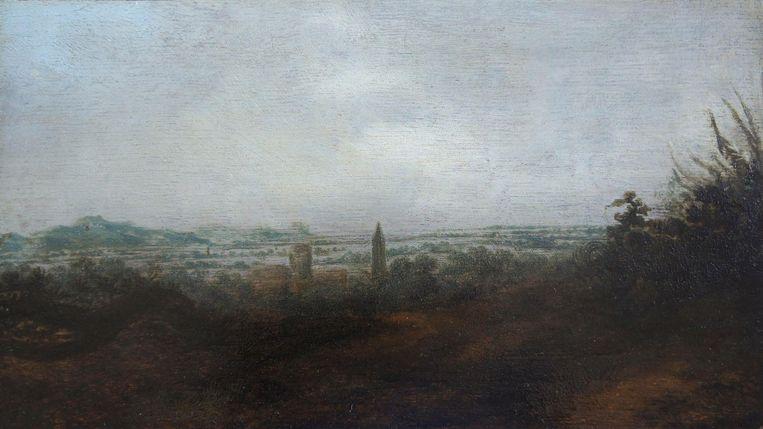 Panoramisch Landschap met Twee Torens, paneel, 18.4 x 32.8 cm, ca. 1625-30. Beeld privé-collectie