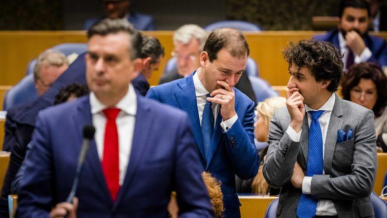 mile Roemer (SP), Lodewijk Asscher (PVDA) en Jesse Klaver (Groenlinks) tijdens het Kamerdebat over de regeringsverklaring. Beeld anp