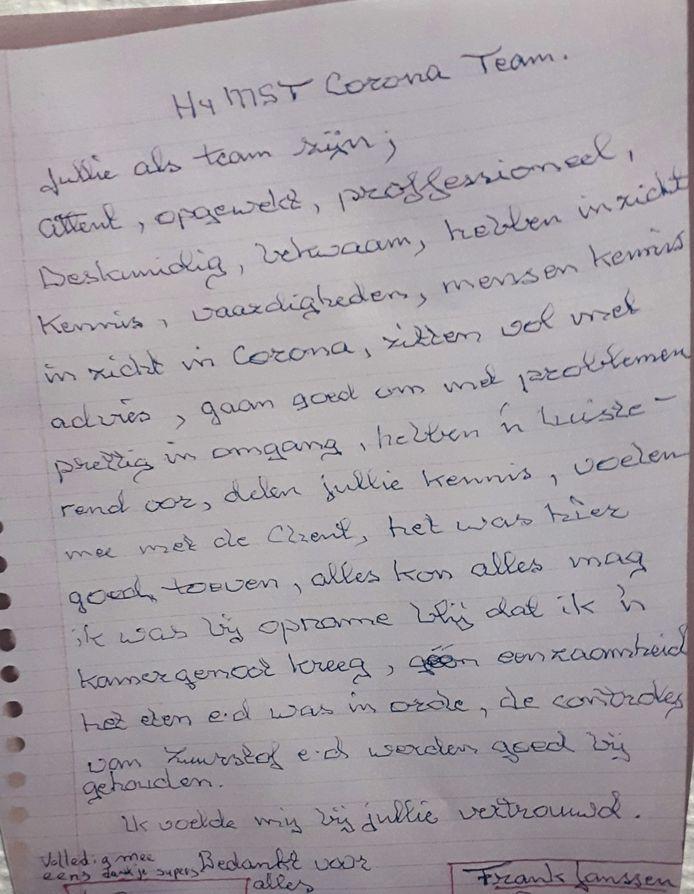 Op zijn ziekbed in het MST schreef vader Janssen vol lof over de verpleging.