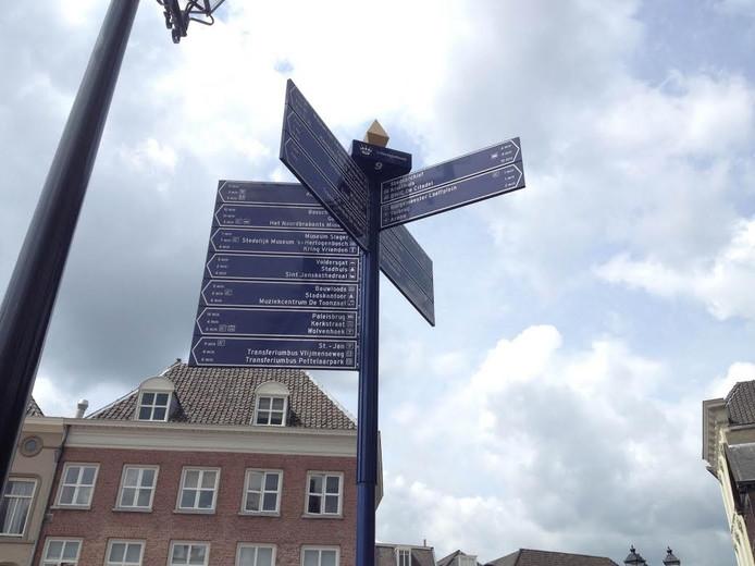 43 bestemmingen op de voetgangersbordjes in het centrum