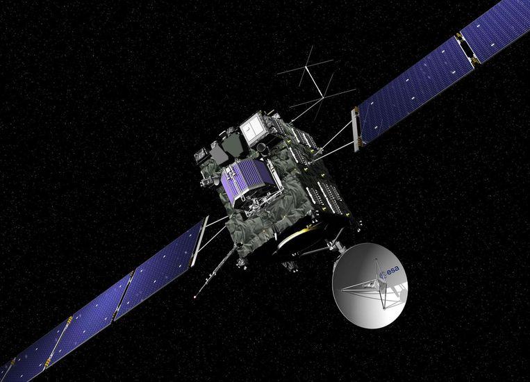 Rosetta en Philae, voordat de lander werd gelanceerd. Beeld afp