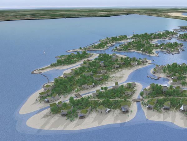 Dertien eilandjes in de Grevelingen met 325 luxe vakantiehuizen, dat zou Brouwerseiland moeten worden.