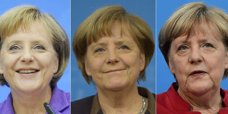 Angela Merkel in 2005, 2009, 2013 en 2016 in Berlijn. Beeld afp