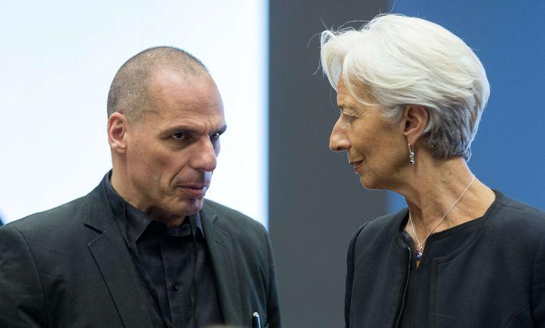 Varoufakis en IMF-topvrouw Christine Lagarde.