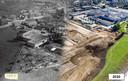 Het Olasfa-terrein door de jaren heen. Links een luchtfoto uit 1963, rechts een luchtfoto uit 2020.