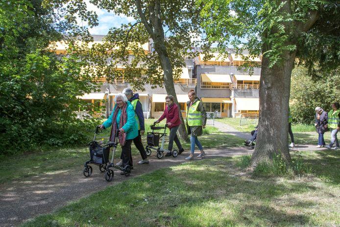Dien van de Parel (links) voert de groep wandelaars aan in het Cederbos. Na twee maanden mogen de bewoners eindelijk weer eens buiten wandelen.