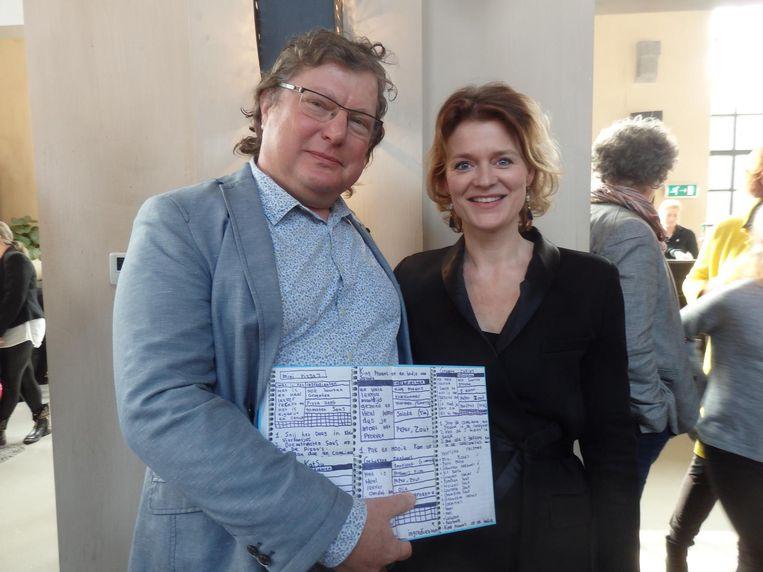 Jan Krol (DierenLot) met de pagina met originele recepten uit het schrift van Shane. Uitgever Melanie Zwartjes (Kosmos Uitgevers): 'Kaft eromheen, klaar.' Beeld Schuim