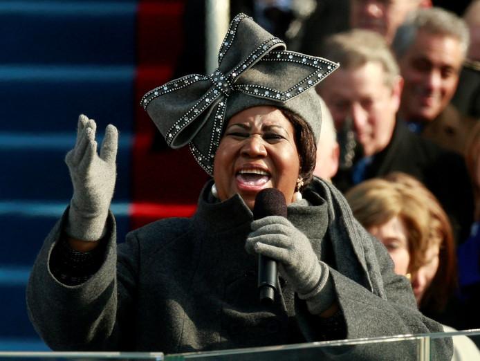 Aretha Franklin tijdens het optreden voor Obama, in 2009.