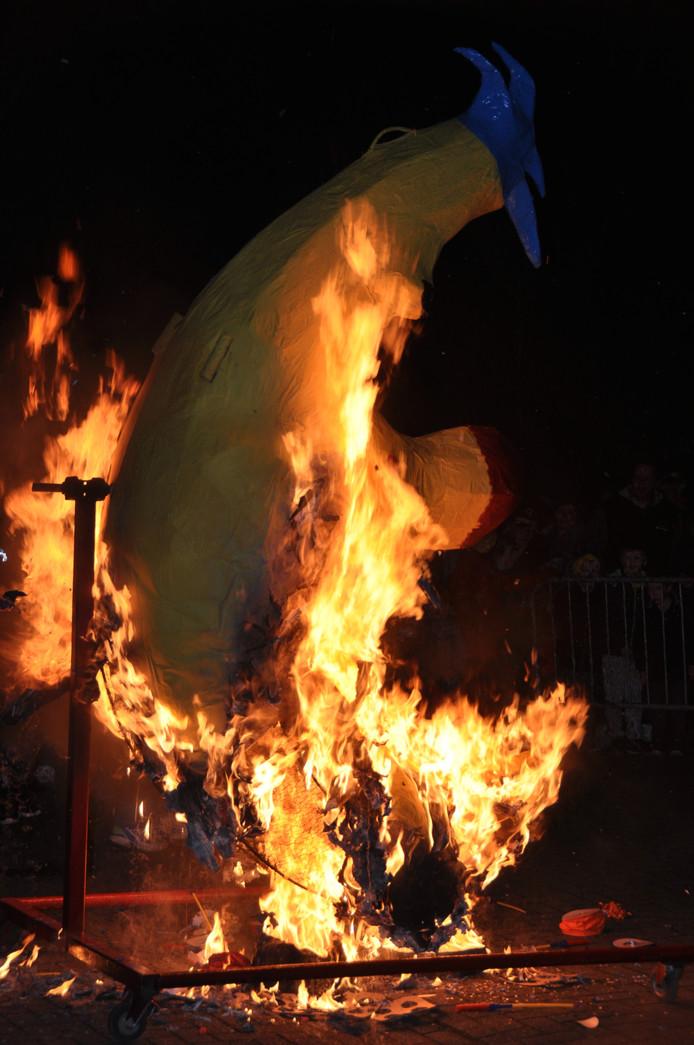Veel belangstelling voor de lampionnenoptocht en de maanverbranding in Waspik.