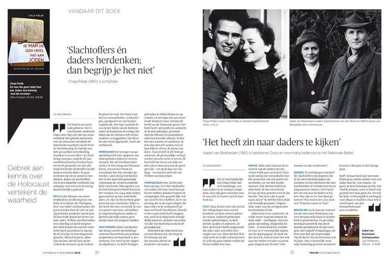 De pagina waar Chaja Polak op reageert, met rechts het interview met Isabel van Boetzelaer. Beeld -