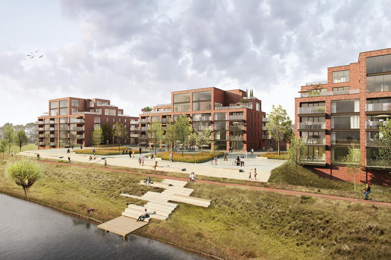 Artist impression van nieuwbouwproject De IJzergieterij in Hardinxveld-Giessendam. De grond is echter vervuild.