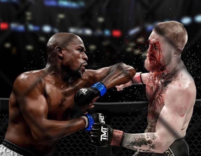 Floyd Mayweather (l) in gevecht met Conor McGregor.