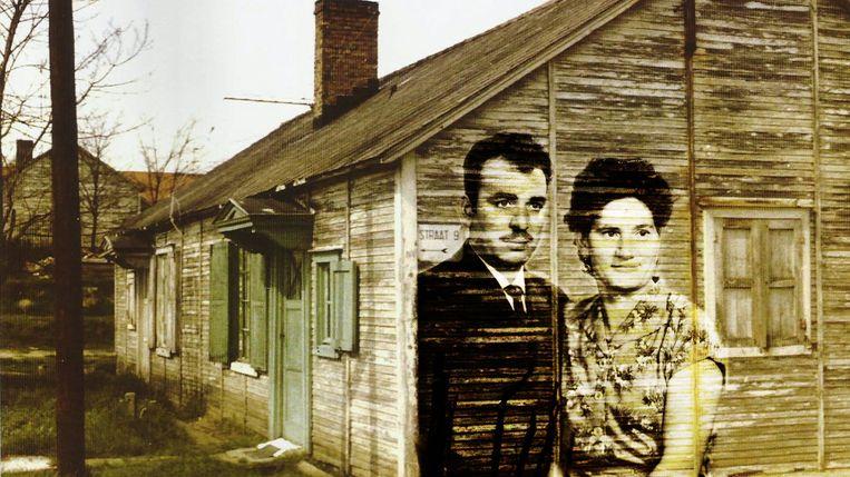 Een foto van Perrotti's ouders en de barakken waarin de Italiaanse mijnwerkers woonden.