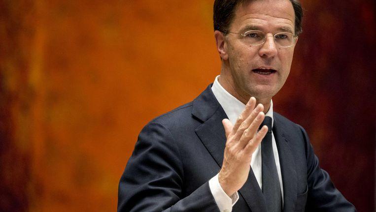 Premier Mark Rutte tijdens een debat over het inreisverbod dat de Amerikaanse president Donald Trump heeft afgekondigd. Beeld anp
