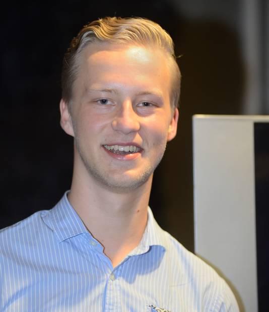 Thijs van Zutphen van Lijst Blanco, hij was als jongste raadslid van Meierijstad woensdagavond het enige aanwezige raadslid.