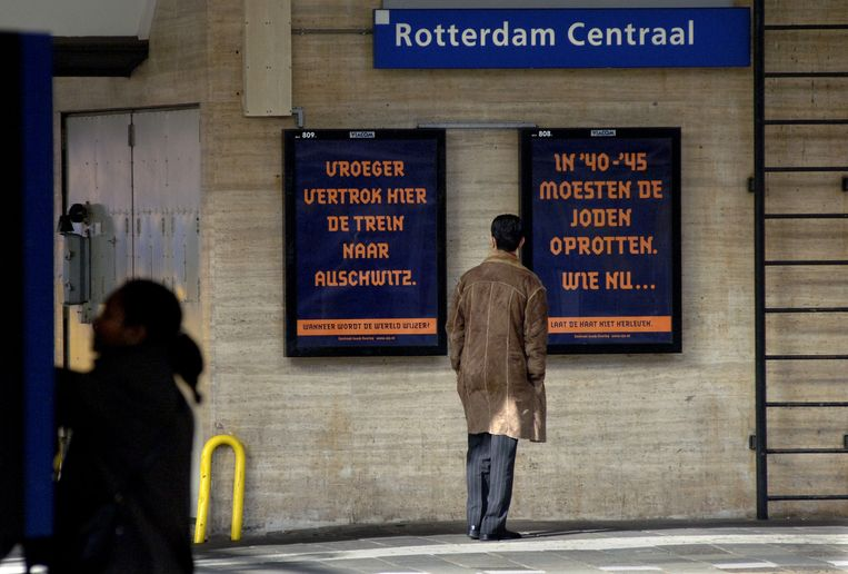 In 2005 maakte NS excuses voor de jodentransporten. Als onderdeel voerde het deze campagne op stations, samen met het Centraal Joods Overleg.