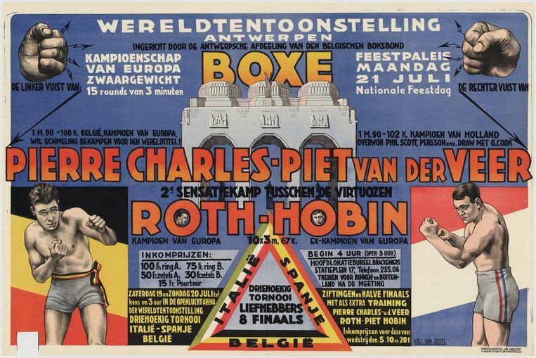 Affiche voor een bokswedstrijd tijdens de wereldtentoonstelling van 1930 in Antwerpen.