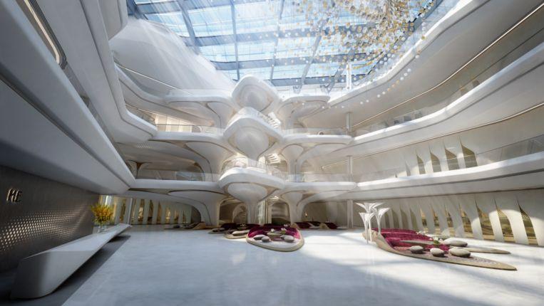 Het atrium, de grote ruimte beneden tussen de twee torens.