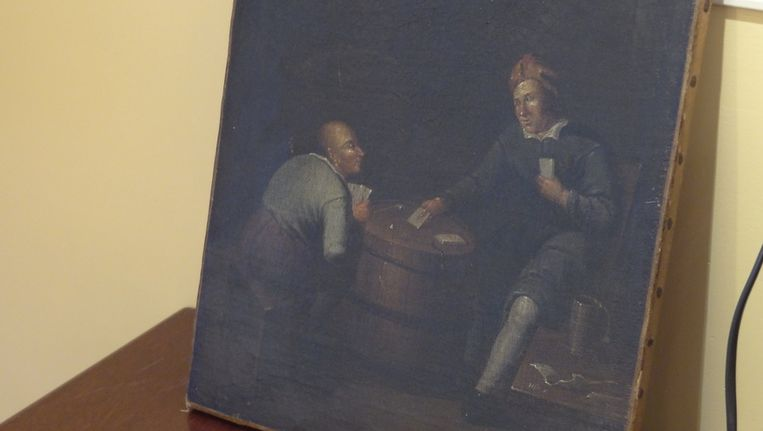 Een olieschilderij van Egbert Jasperz van Heemskerck is een van de stukken die nu in de winkel staan. Beeld Franck Hakkert