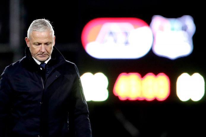 NEC-trainer Jack de Gier na de 4-0 nederlaag tegen Jong AZ.