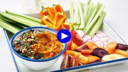 Onbeperkt en zonder schuldgevoel snacken: geroosterde worteldip met groentjes