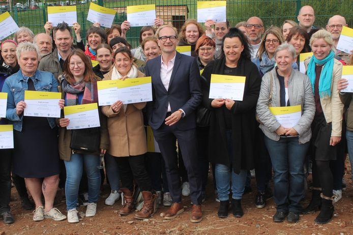 Vlaams minister Ben Weyts bracht een bezoekje aan de nieuwe locatie van de Ark van Pollare.