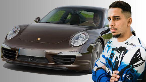 Yassine El Ghanassy (27) en zijn verbeurd verklaarde Porsche Carrera.
