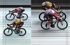 Links: Groenewegen klopt Ewan met miniem verschil in rit 7, rechts is het omgekeerd in rit 11.